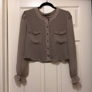 Guess Cropped Blouse- Taupe